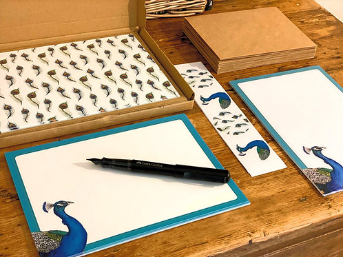 Peacock Notepaper and Notecard Stationery Set