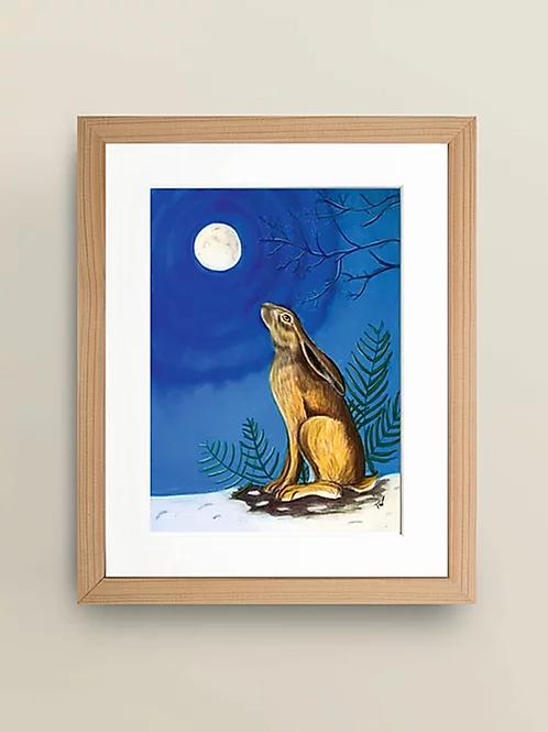 A4 'Moon Gazing Hare' Giclée Print