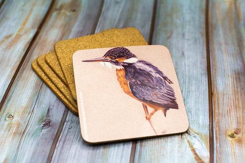 'Kingfisher' Cork Backed Coaster