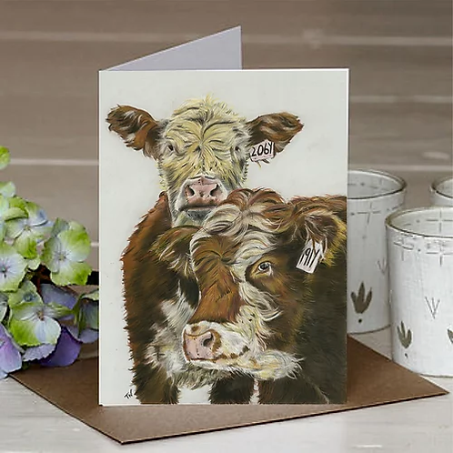 'Inquisitive Cattle' A6 Greetings Card
