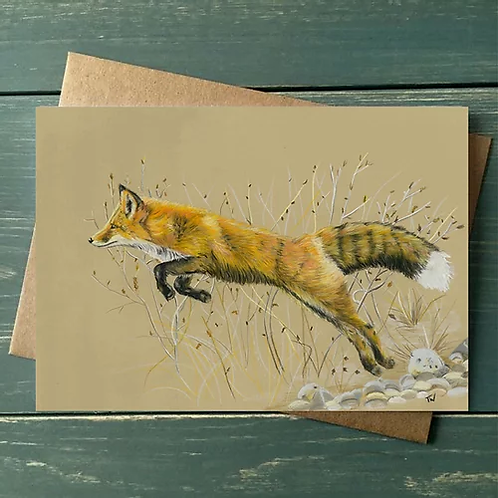 'The Leaping Fox' A6 Greetings Card