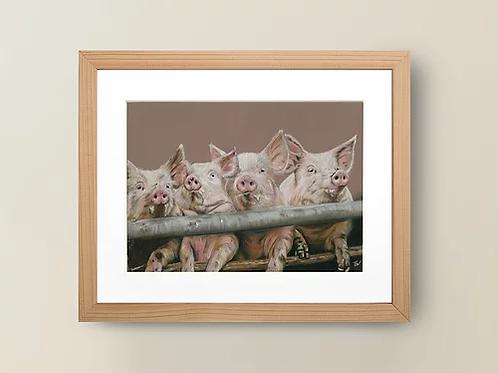 A4 'Pink Piggies' Giclée Print