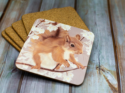 'Squirrel' Cork Backed Coaster
