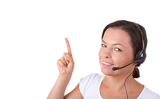 happy-woman-with-headset-working-callcenter-shows-finger-direction-copyspace-yours-design-