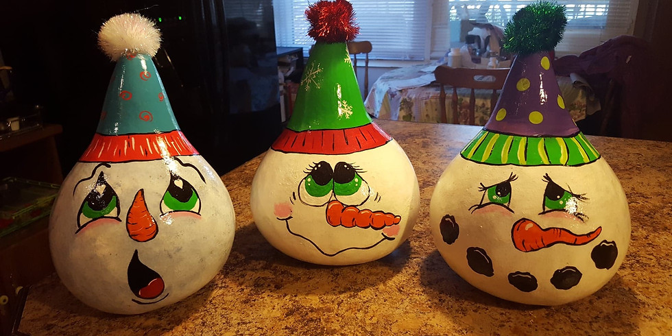 Snowman Gourd Painting Party