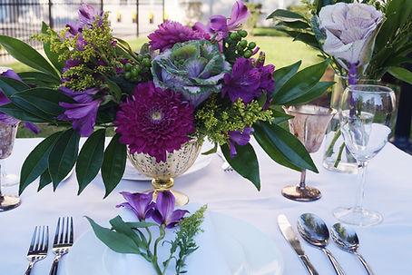 Beautifu purple wedding centerpiece in Detroit.