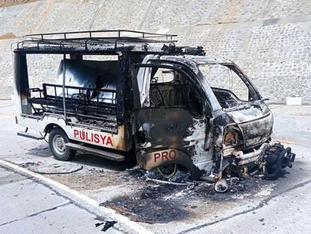 3 pulis sugatan matapos ambusin at sunugin ang sinasakyang patrol car sa Mansalay, Oriental Mindoro