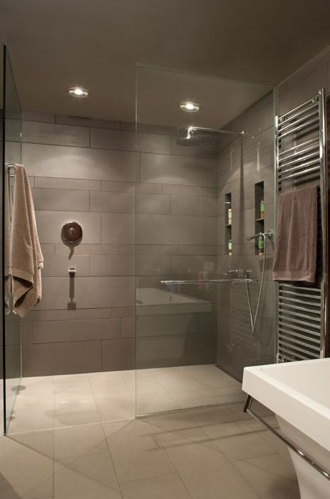 Curbless Shower with frameless glass