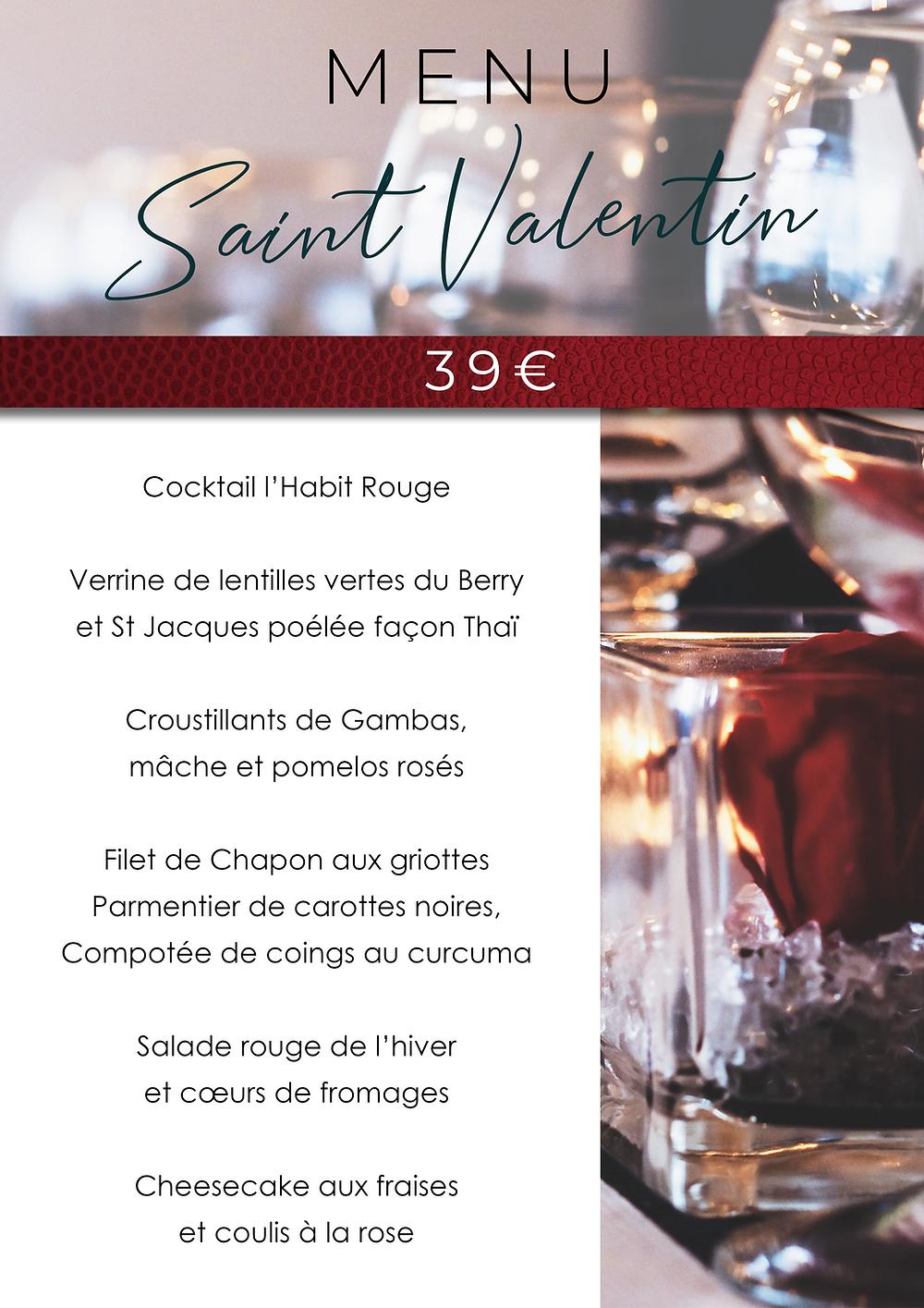 Menu Saint Valentin / Restaurant / La Charité sur loire