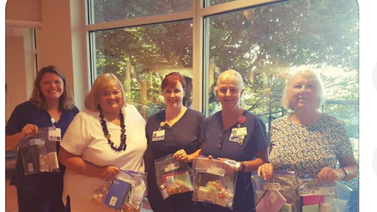 Poplar Grove made care bags for patients at the cancer center