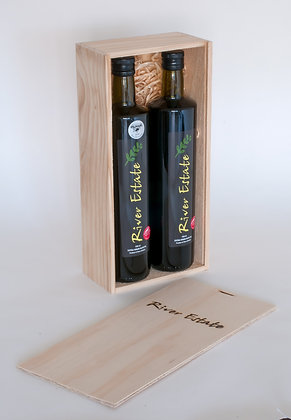 2 x 750ml Olive Oils in Wooden Gift Box
