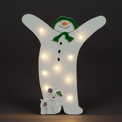 Snowman and Snowdog wooden LED