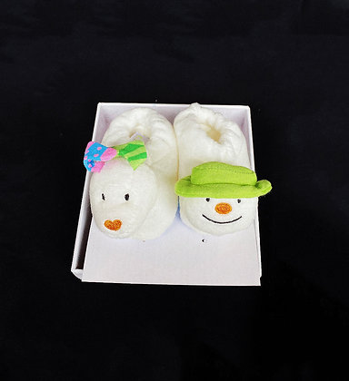 Snowman and Snowdog Jingle Bell Booties
