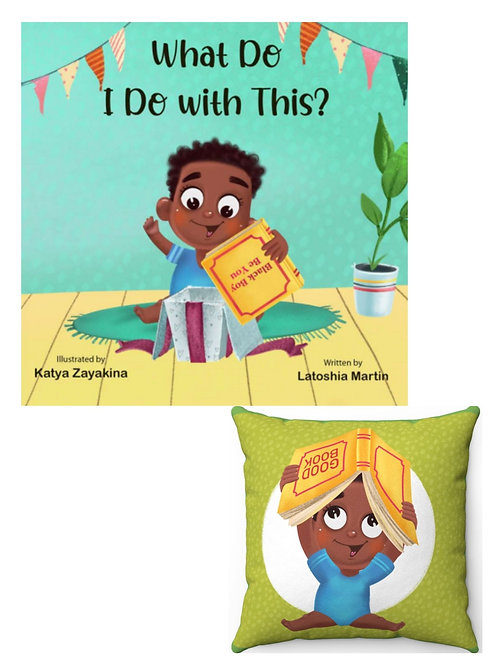 What Do I Do with This? Faux Suede Square Pillow - Book Bundle