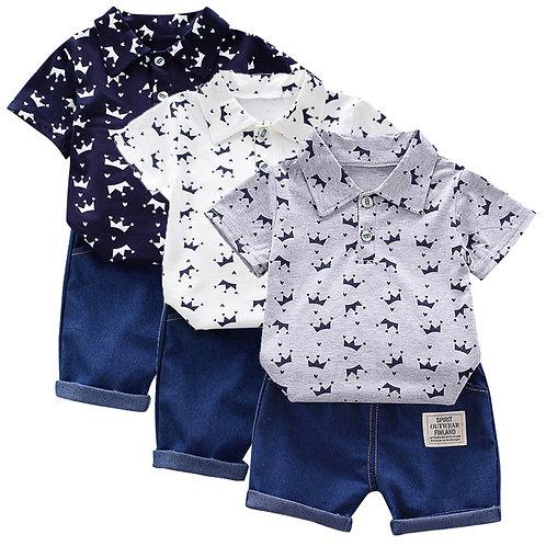 Toddler Short Sleeve Crown Pattern Shirt Tops+ Denim Pants Set