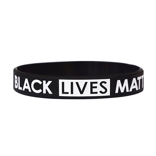 Black Lives Matter Bracelet Black Silicone Rubber Wristband