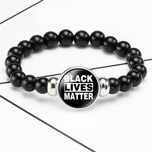 Black Lives Matter Dome Snap Beaded Bracelet