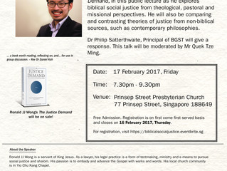 17 Feb: Lecture on Universality and Distinctiveness of Biblical Social Justice