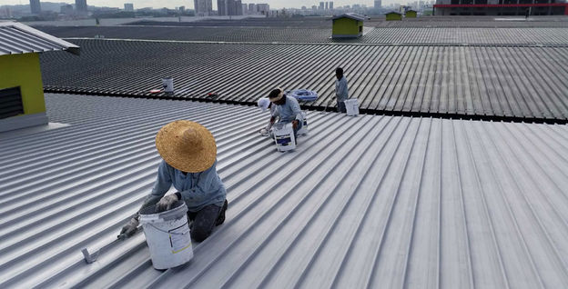 Liquid Applied Membrane to Metal Roof at Jurong Port Road