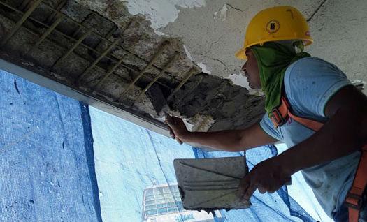 Hydro-seal Engineering Specialist Performing Spalling Concrete Ceiling Repair