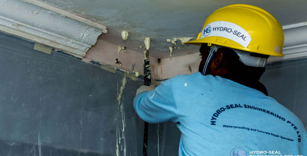 Hydro-seal Engineering Specialist Performing Concrete PU Grouting in Residential Home
