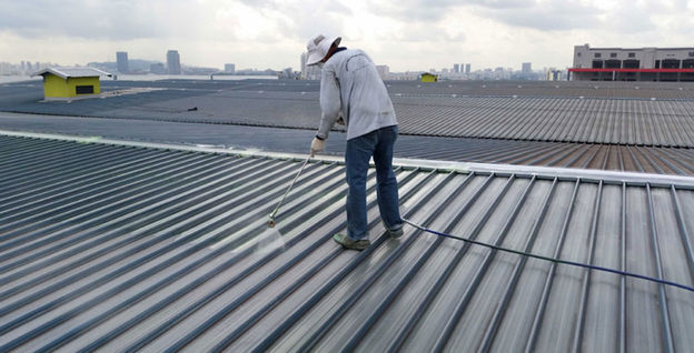 Spray on Liquid Applied Membrane to Metal Roof at Jurong Port Road