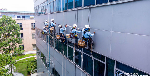 External Facade Cleaning Works at 16 International Business Park Road.