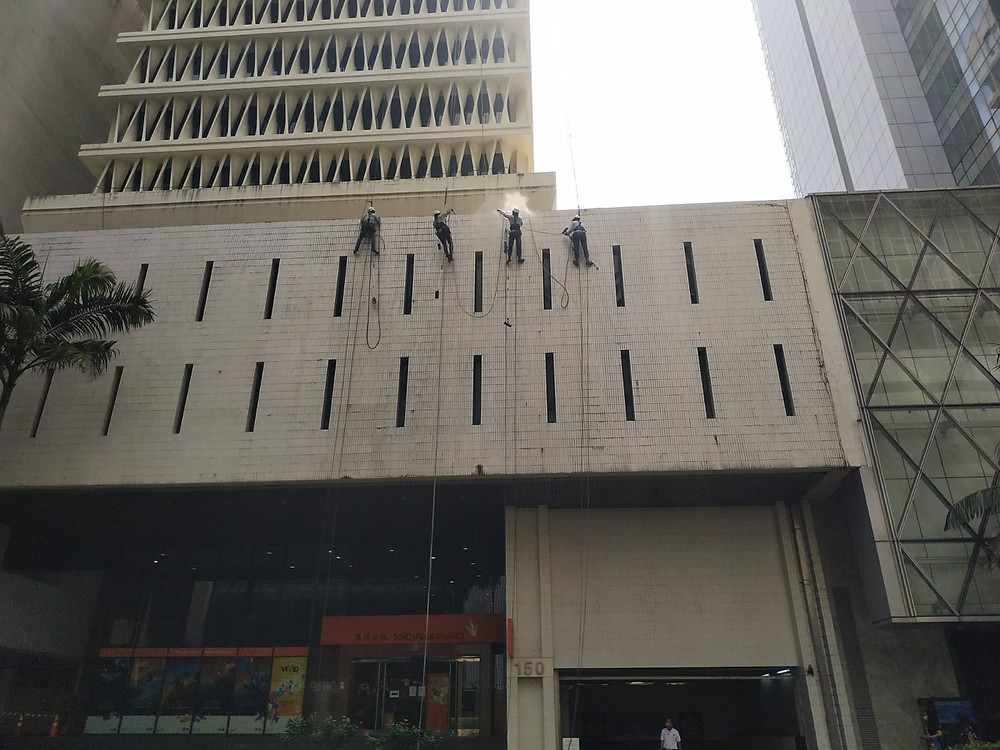 Rope access waterproofing commercial building