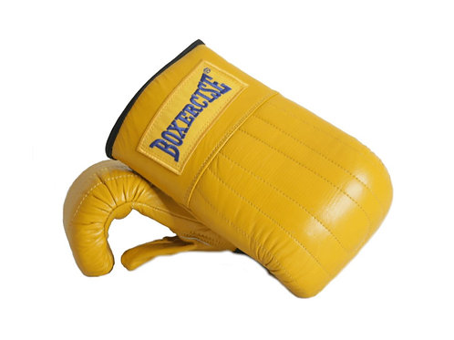 Yellow Leather Bag Mitts