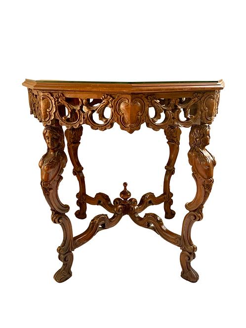 Vintage Tiger Oak Figural Table