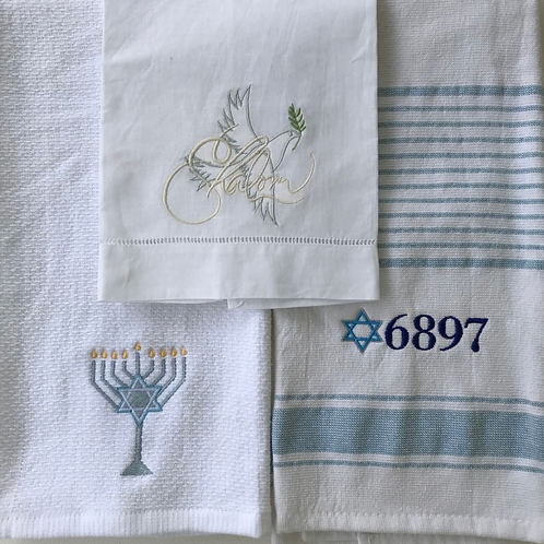 Hanukkah themed dish towels