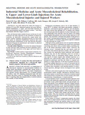 Foye PM, Sullivan WJ, Panagos A, Zuhosky JP, Sable AW, Irwin RW. Industrial medicine and acute musculoskeletal rehabilitation. 6. Upper- and lower-limb injections for acute musculoskeletal injuries and injured workers. Arch Phys Med Rehabil. 2007 Mar;88(3 Suppl 1):S29-33.