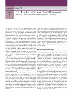Lin C. D., Fung, N.Q., O'Dell M, Panagos A. Physiatric History and Physical Examination. Chapter In: Braddom, R. (Ed). Physical Medicine and Rehabilitation 3rd Ed. Philadelphia, Elsevier 2007.