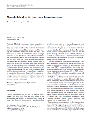 Rothenberg JA, Panagos A. Musculoskeletal performance and hydration status. Curr Rev Musculoskelet Med. 2008 Jun;1(2):131-6.