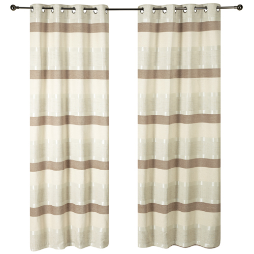 Natural Stria Eyelet Curtains.