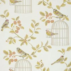 Terracotta song bird wallpaper.