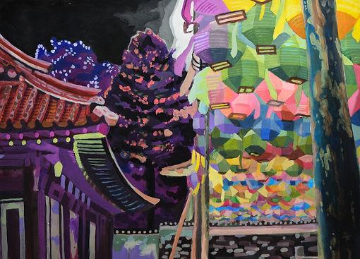 choi_Hanok_facing_the_lanterns_acrylic_o
