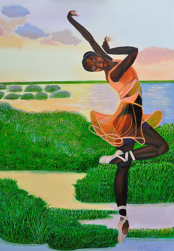Black women ballerina posed next to a field with water