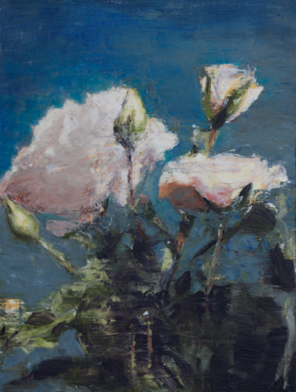 Painting of white flowers with blue background