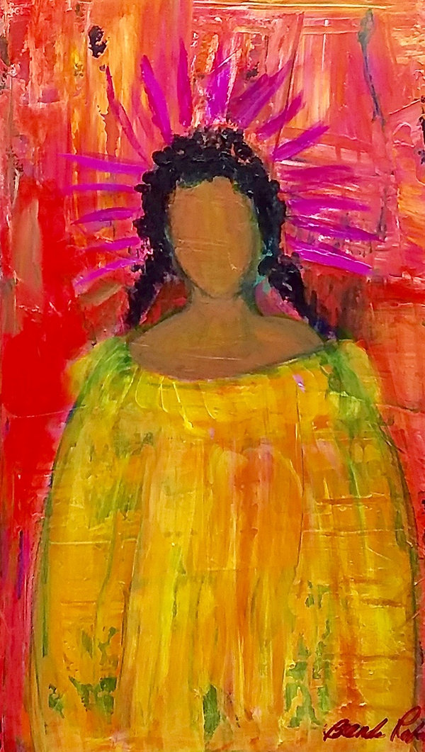 black woman yellow dress purple crown faceless
