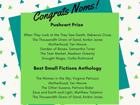 2019 Nominations for Pushcart Prize and Best Small Fictions