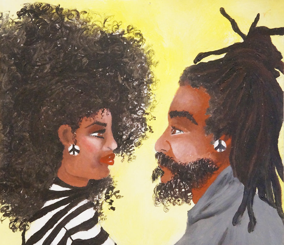 Black woman and man facing each other