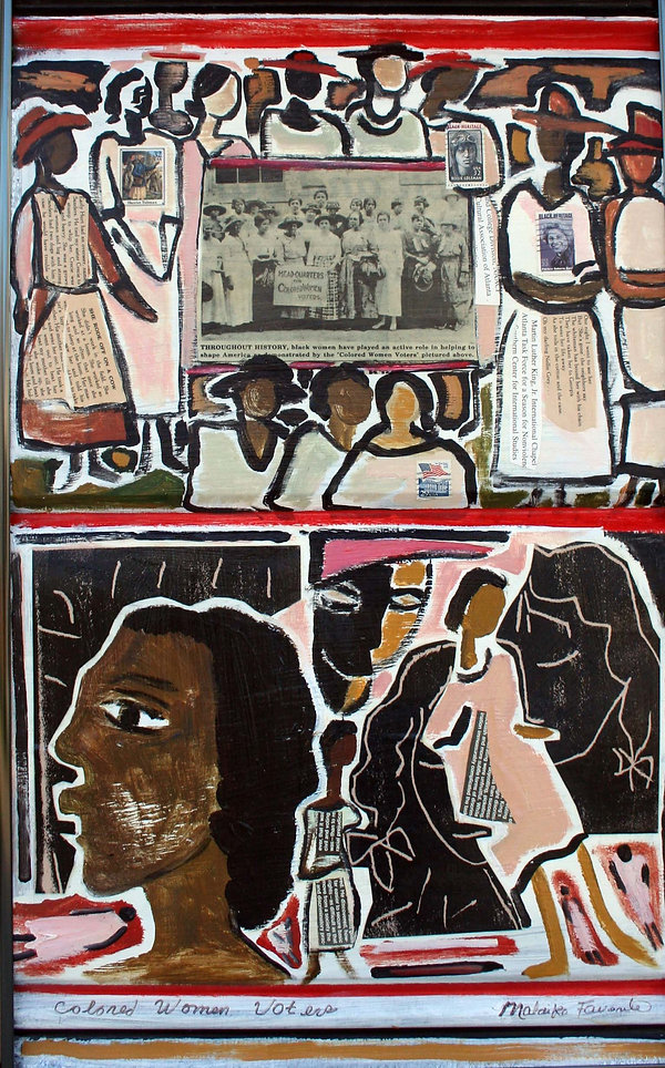 Women voters collage and painting
