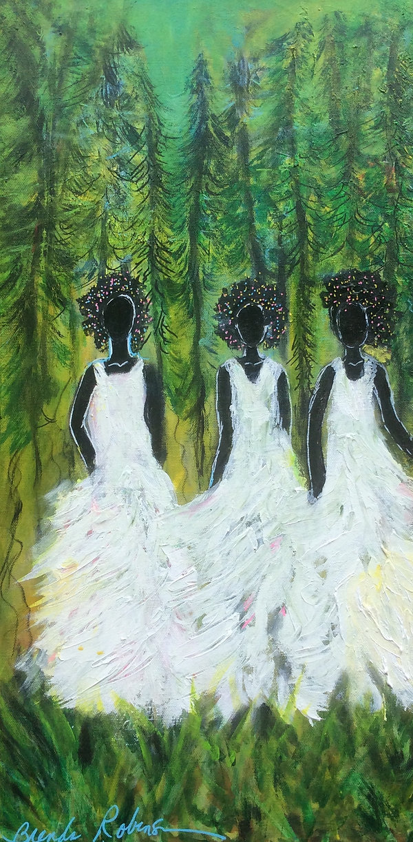three black women in a forest white dresses