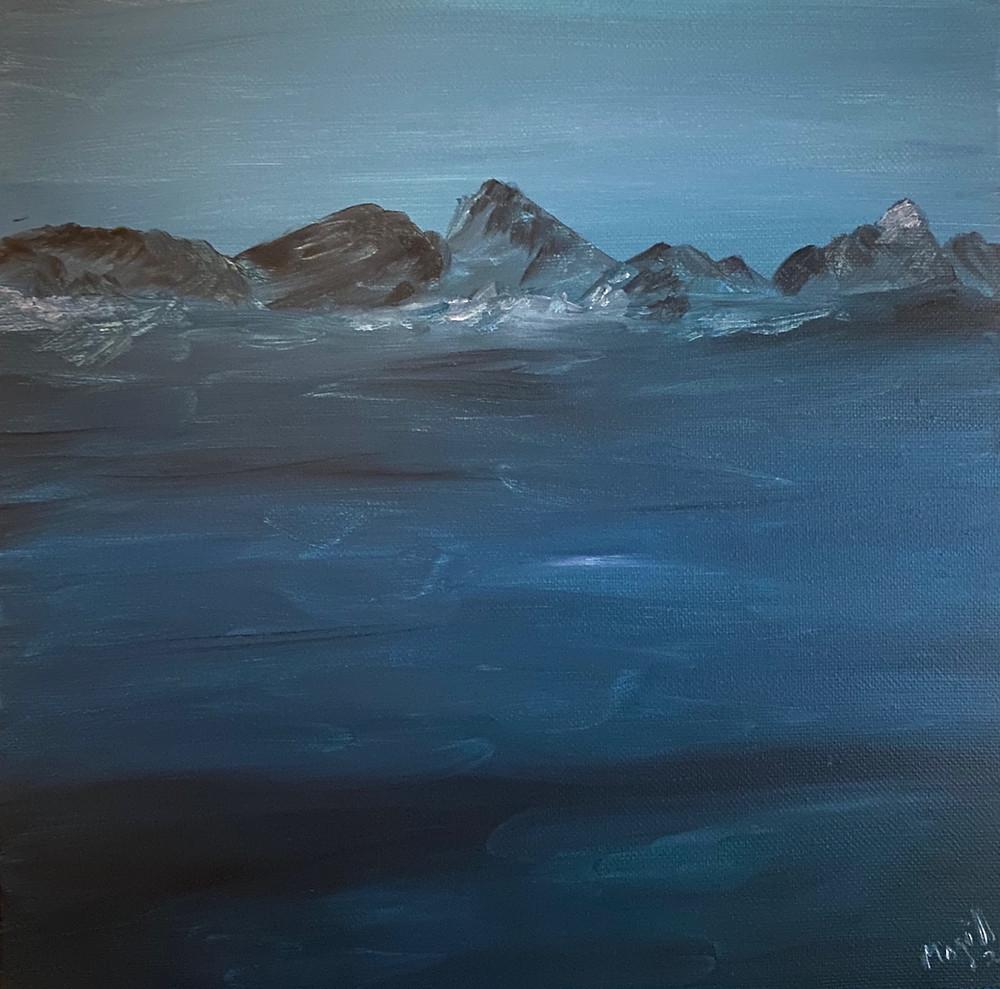 Painting of black rocks submerged in blue water on coastline.