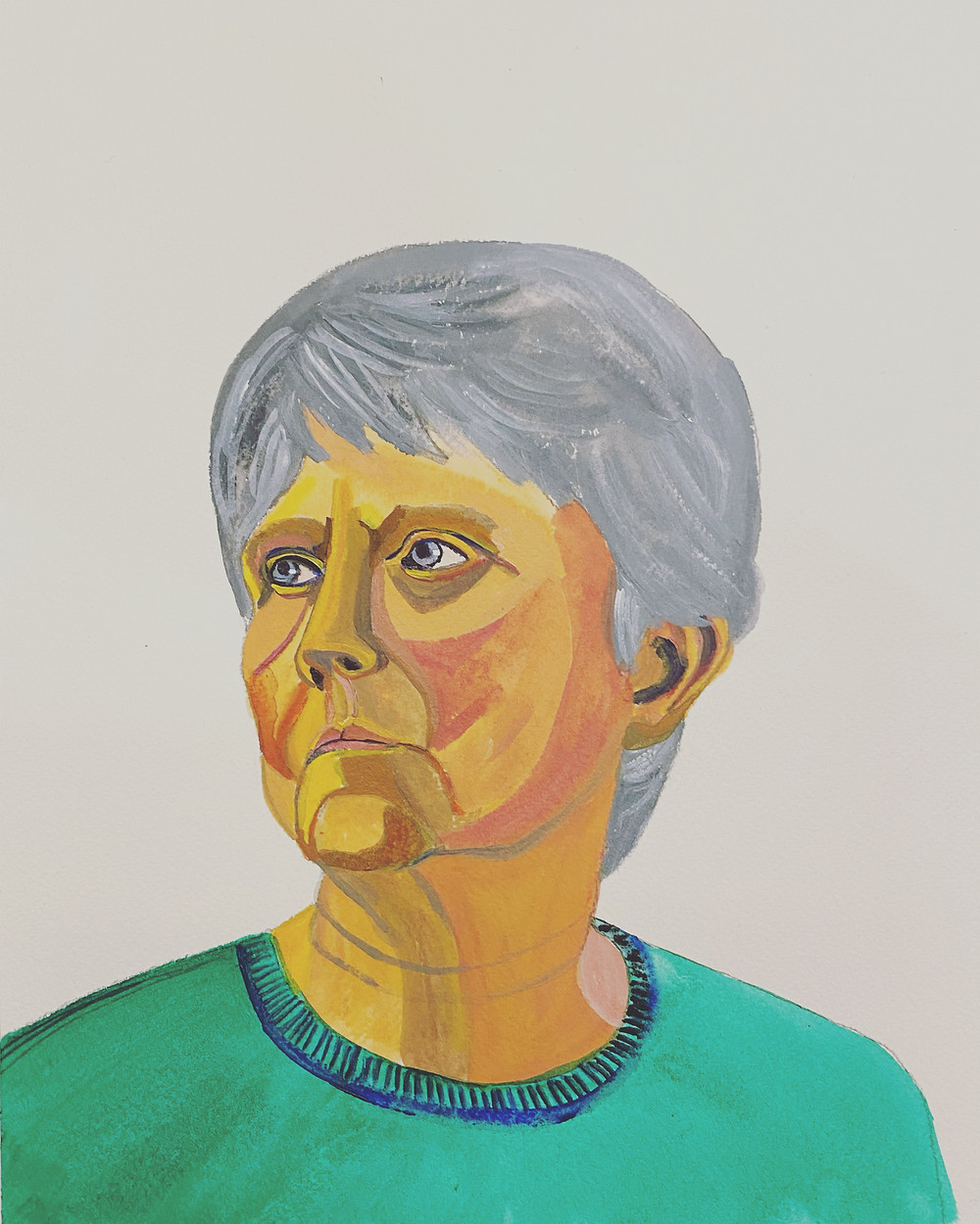 Painting of a women with gray hair and a green sweater