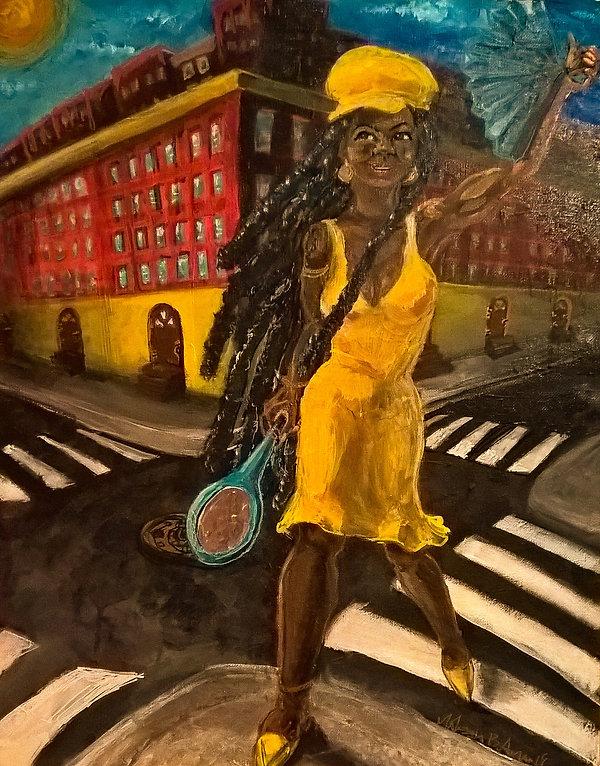 Black woman standing in crossroads