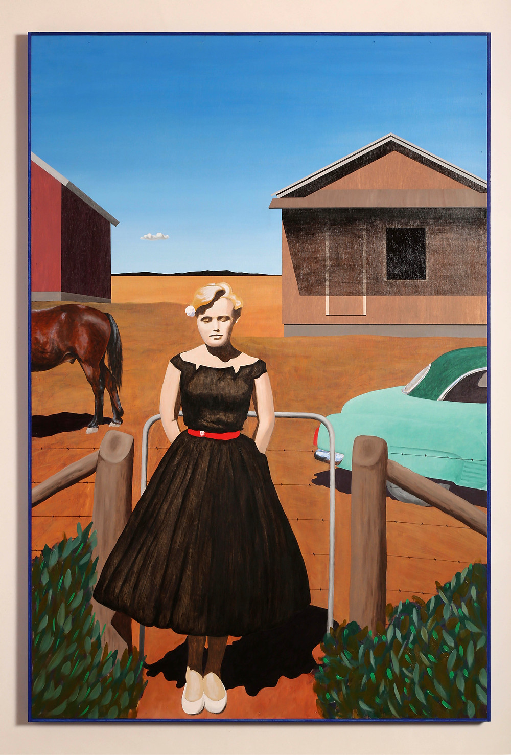 Women dressed in black dress standing in front of a ranch.