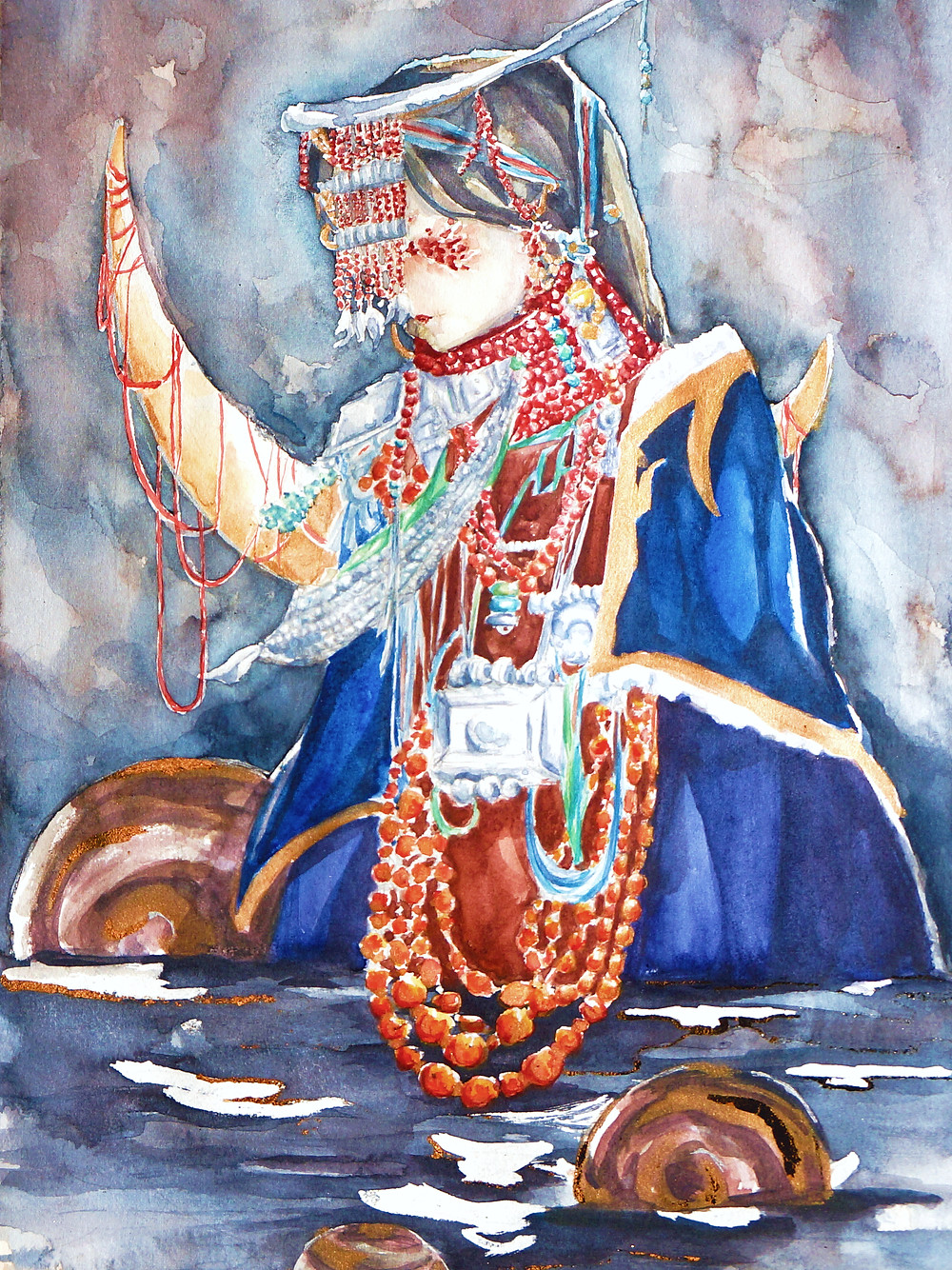 Painting of a women in sitting in water looking down. Traditional Chinese dress.