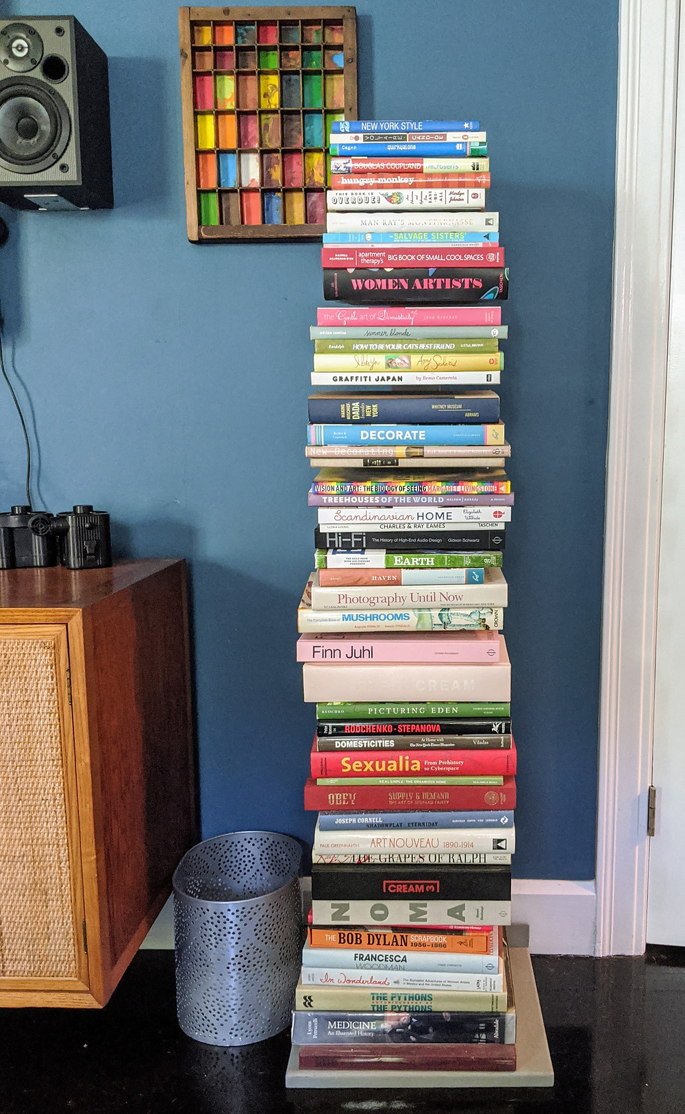 Stack of books on floor